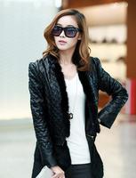 женщины осень весна тонкий длинное пальто pu кожа женщин xxl Зеленая кожа супер длинный пиджак q157