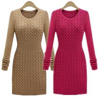 2014 winter sweaters women fashion slim waist women's o-neck long-sleeve sweater dress Wool Sweater pullovers YF45