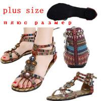 2014  Bohemia beaded Flat    Heel Sandals Women's  T Sandals Plus Size 40 41 Flip Flops summer sandals shoes