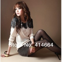 Autumn new arrival loose plus size lace t-shirt female long-sleeve all-match basic shirt autumn patchwork diamond