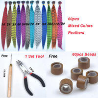Wholesale 60/500/1000 U-pick Grizzly Synthetic Feather Hair Extensions Kit With Free Silicone Micro Beads And Hook Needle Pliers