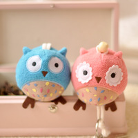 Owl plush key wallet cartoon pull type key cover keychain