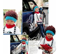Cool Spring Autumn Winter Boys Knitted Children Kids Curly Hair Wig Hat Beanies Caps Headband