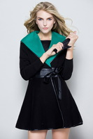 2013 outerwear cashmere wool slim waist skirt top women overcoat belt