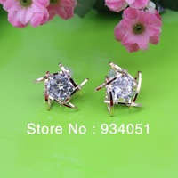 Trendy Gold Plated Zircon Crystal Stud Earring Lady Soiree Eardrop Festival Gift Jewelry Free Shipping