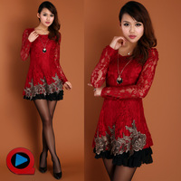Autumn women one-piece dress 2013 slim cutout embroidery lace autumn and winter long-sleeve dress  Free shipping