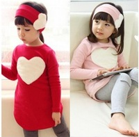 Free shipping piece/lot 2013 autumn child female child long-sleeve T-shirt trousers hair accessory set love set