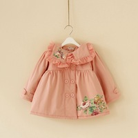 2013 autumn and winter female child aesthetic flower turn-down collar double breasted trench outerwear plus velvet thickening