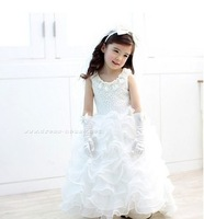 Child train formal dress female child wedding dress flower girl train dress female child princess dress puff skirt