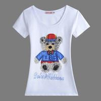 2014 new cartoon Little bear pattern slim short-sleeve t shirt women 5colors M,L,XL,XXL,3XL