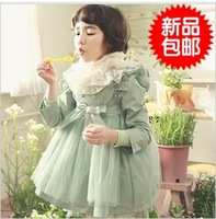 Children's clothing female child autumn 2013 flying wing gauze princess child trench female child outerwear overcoat