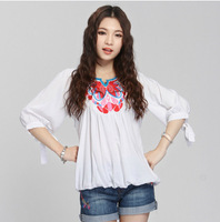 free shipping fashion national style summer women blouses half sleeve irregular Embroidered shirt