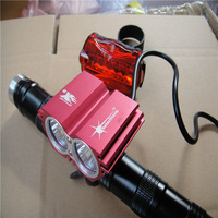 Free shipping 5000 Lumen 2x CREE XM-L U2 LED Head Front Bicycle bike HeadLight Lamp Rear Light Headlamp 8.4v battery Charger