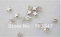 (100 pcs/lot) 4mm Loose Crystal Silver Clear Sew On Rhinestone Beads ,Free Shipping!!!!