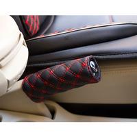 Free shipping- 2014 Fashion car styling, Korea Wine, 2 in 1 set Car Gear shift collars + Handbrake Grip leather skin cover