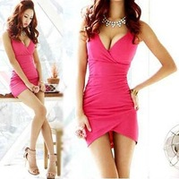 Free shipping Sexy Women V-Neck Low Cut Sleeveless Slim Cocktail Night Club Party Dress Black White Rose Red