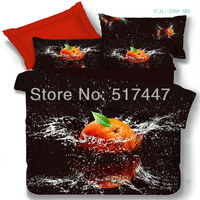 orange and black bedding set 4pcs cotton quilt duvet cover 3d printed for queen size comforters 3d printed home textile bedsheet