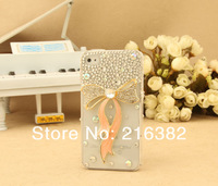 Bowknot ribbon Rhinestone 3D Bling Phone Accessory For Samsung i9300 i9500 Galaxy S III S4 Phone Case Free Shipping