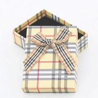 Wholesale 10 Pcs/Lot Paper Yellow Plaid Bow Jewelry Gift Box for Bracelet Bangle 7cm*9cm Free Shipping