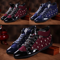 Wholesale! England men's casual high-top orange Really Leather coffee warm blue matte rubber sole Skateboarding Shoes