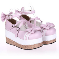 Single shoes women's lolita shoes platform dress shoes princess shoes platform shoes 8018 powder white
