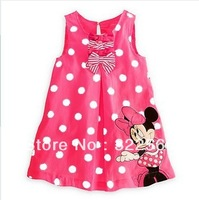 Hot sale, New baby girl's Minnie sleeveless Dot dress baby sweet dress ,5 pcs/lot