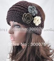 Handmade Headband threeFlower acrylic knit headwrap new style hair band