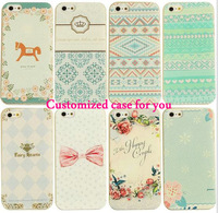 New arrival Customized printed leather pattern Pc case for iphone 4/4s 50pcs/lot mixed 5 designs