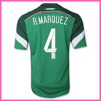 2015 WC Factory Price Player Version Mexico Home Soccer Shirt ,Original Quality Mexico 14/15  Jersey With R.MARQUEZ 4#