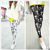 Fashion 9254 milk, silk doodle cross print legging leggings ankle length trousers