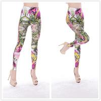 Seamless multicolour lily print legging tattoo leggings