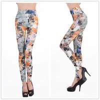 Seamless print small cat print legging ankle length trousers tattoo leggings