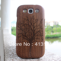 Hot Sale 1piece Tree wood case cover (black walnut) + 1piece film screen protector = 2pieces/lot for samsung i9300/S3