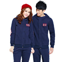Blue summer winter lovers design with a hood cardigan sportswear set fleece thickening male women's thermal sportswear