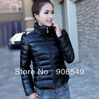 Free Shipping 2013 slim PU leather Women down jacket Women Winter Warm cotton-padded jacket female short design outerwear