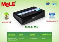 Dual Core Mini PC TV Box Android 4.2 Mele M5 Allwinner A20 ARM Cortex A7 1GB RAM 8GB ROM LAN WiFi with 2.5'' SATA HDD Connector