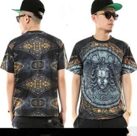 2013 New Men's Runway Palace Medusa Snakeheads Virgin Goddess Tees Cotton Short Sleeve T-shirts Free Shipping