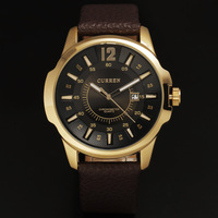 2013 luxury curren men quartz business watch fine mould steel bezel solid index date dial real leather band wristwatch freeship