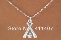 free shipping 5pcs a lot fashion silver baseball bat and ball charm necklace