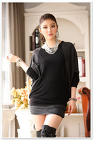 Autumn - summer 2013 hot sell long sleeve O-Neck knitwear T-shirt women's loose fashion Pure color clothes