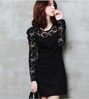 2014 Spring New Women Lady Slim Lace Long Sleeve Short Mini One Piece Dress Plus Size Black S-4XL X1245 Retail Free Shipping