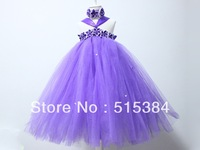 purple ankle length dress for girls retail fluffy long tutus for baby girls princess party dresses headband free shipping