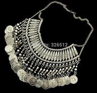 Bohemian Antalya Medium Coin Collar Fringe Chain Necklace  Silver Gypsy Statement Boho Coachella Festival Turkish Jewelry Ethnic