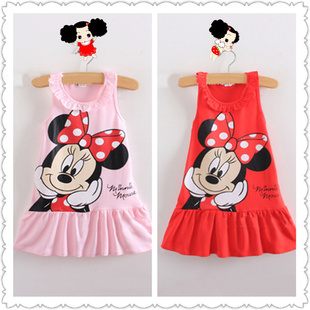 Retail 2013 Kids girls clothes cute Mickey Mouse Minnie Dress, 2 colors of red and pink mini Clothes, baby girls clothing Q0393(China (Mainland))