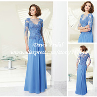 Elegant Beading Appliqued Lace 3/4 Sleeve Mother of the Bride Dresses 2014 Blue Chiffon Long ZF527