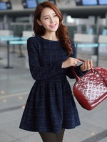 Dark Blue Plaid Long Sleeve Round Neck Fashion Thick Woolen Dress Female Backing Semi Formal Dress Performance Wholesale Lots
