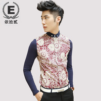 E men's autumn and winter clothing small collar long-sleeve shirt slim male casual male shirt