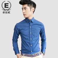 E 2013 men's clothing shirt male long-sleeve cotton long-sleeve shirt slim male metal buckle casual male shirt