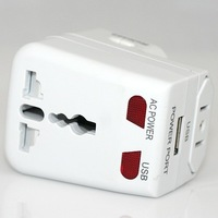 USB Charger + Universal Travel Adapter AC Power Plug