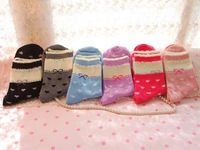 Factroy Price 5 Pairs/lot  Cute Korean Socks Bowkont Retro Women's Socks Cotton Soks 6 Colors Free Shipping